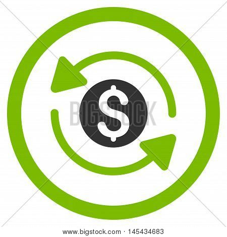 Money Turnover rounded icon. Vector illustration style is flat iconic bicolor symbol, eco green and gray colors, white background.