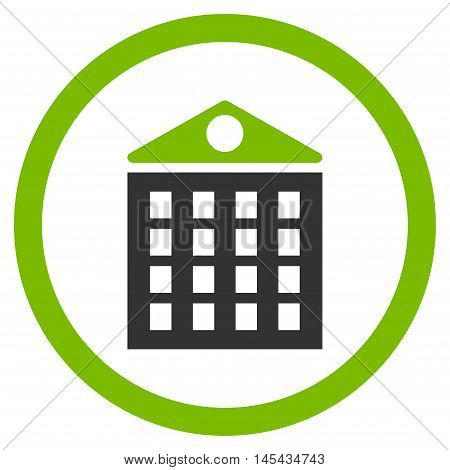 Multi-Storey House rounded icon. Vector illustration style is flat iconic bicolor symbol, eco green and gray colors, white background.