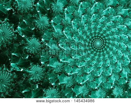 Abstract computer-generated image aquamarine consisting of a swirl of spiral like flowers or snowflakes