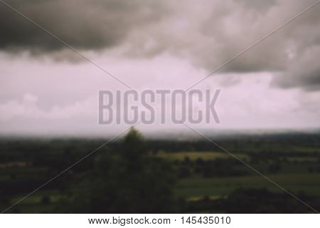 Cloudy View Over The Chilterns In Buckinghamshire Out Of Focus. Vintage Retro Filter.