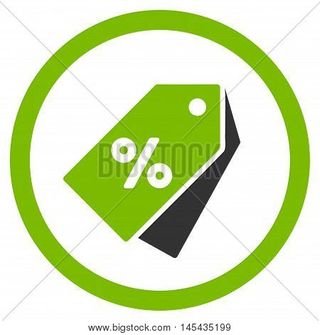 Percent Discount Tags rounded icon. Vector illustration style is flat iconic bicolor symbol, eco green and gray colors, white background.