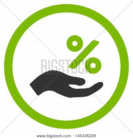 Percent Offer Hand rounded icon. Vector illustration style is flat iconic bicolor symbol, eco green and gray colors, white background.
