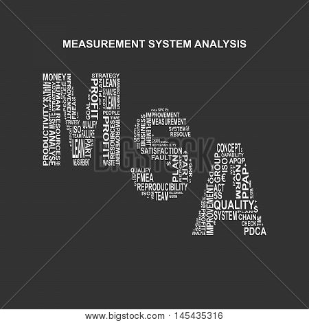Measurement system analysis typography background. Dark background with main title MSA filled by other words related with measurement system analysis method. Vector illustration