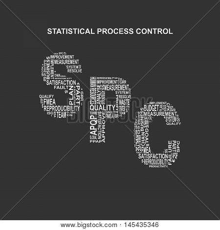 Statistical process control typography background. Dark background with main title SPC filled by other words related with statistical process control method. Vector illustration