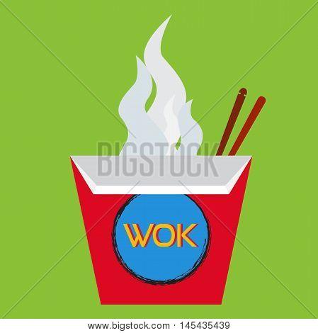 Wok box illustration with chopsticks. Wok set on flat style.