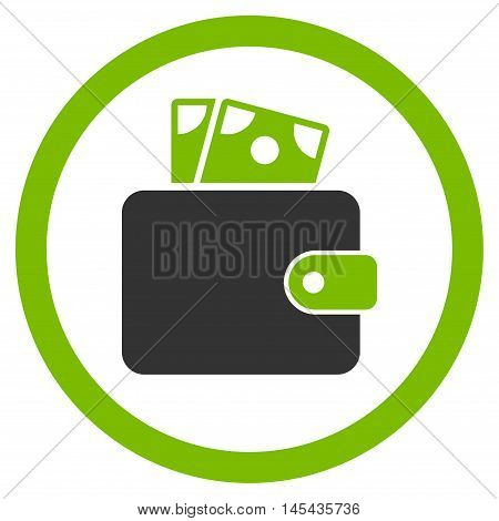 Wallet rounded icon. Vector illustration style is flat iconic bicolor symbol, eco green and gray colors, white background.