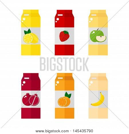 Pack of juice icons on white background. Juice pack templates with fruit labels. Flat style vector illustration.