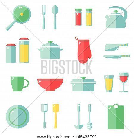 Kitchen utensils icons isolated on white background. Kitchen utensils set. Kitchenware objects. Flat style vector illustration.