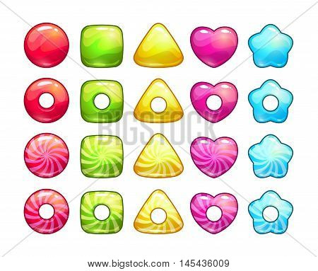 Colorful candy set. Sweet assets for game, web, typography design. Vector cute lollipop icons. Isolated on white.