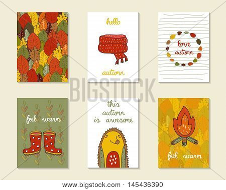 Cute doodle autumn cards brochures invitations with scarf camp fire hedgehog rubber boots leaves frame. Cartoon objects animals background. Printable templates set