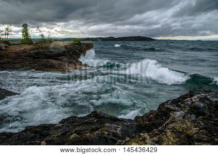 Gale On The Inland Sea. Waves crash on the Lake Superior coast as gale warnings are in effect. Presque Isle Park. Marquette, Michigan.