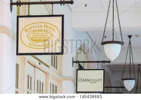 SINGAPORE, REPUBLIC OF SINGAPORE - JANUARY 08, 2014: Details of The Raffles Hotel, the famous hotel in Singapore