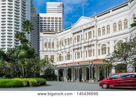 SINGAPORE, REPUBLIC OF SINGAPORE - JANUARY 08, 2014: The Raffles Hotel, the famous hotel in Singapore