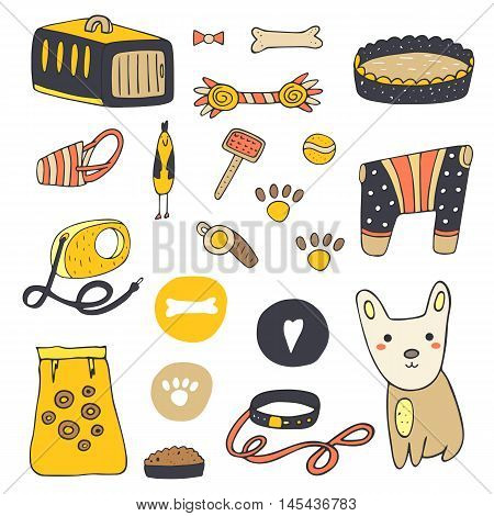 Cute hand drawn doodle dog stuff objects including cage bone ball food plate clothes bed brush paw prints chicken toy whistle heart collar lead muzzle Dog objects icon