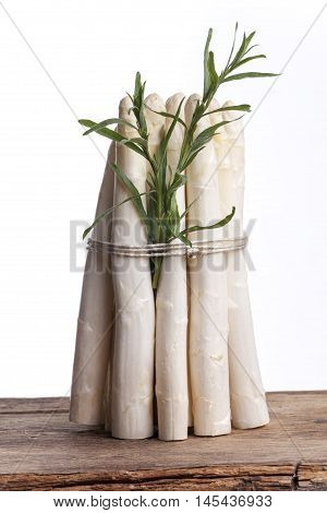 bunch of raw white asparagus on white