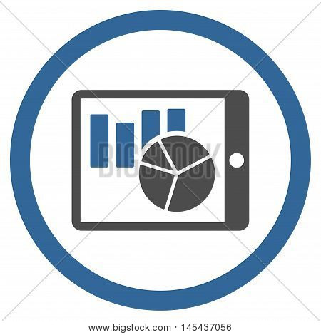 Charts on Pda rounded icon. Vector illustration style is flat iconic bicolor symbol, cobalt and gray colors, white background.