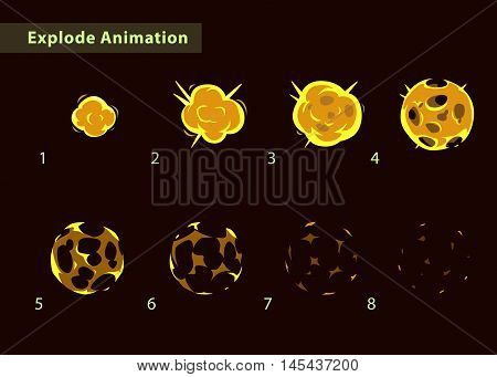 Explode effect animation. Cartoon fire ball explosion frames. Fireball burst sprites for game design.