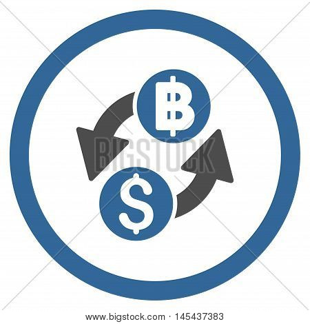 Dollar Baht Exchange rounded icon. Vector illustration style is flat iconic bicolor symbol, cobalt and gray colors, white background.