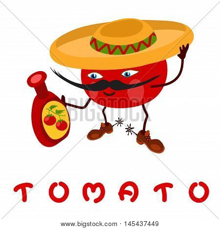 Tomato cartoon character wearing a hat. In the hands of tomato is a bottle of ketchup.