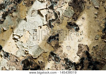 Ugly old damaged paint on a cement wall and suns rays to be used as a background