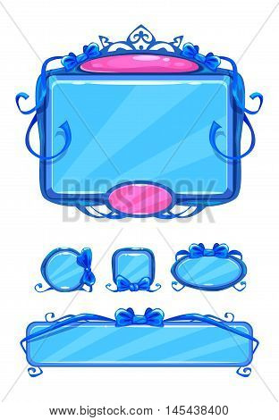 Beautiful girlish blue game user interface including different buttons and information panel. Princess style gui vector assets, isolated on white