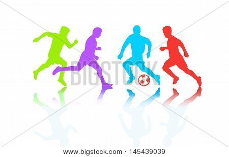 2016. Soccer players. Championship football 2016 summer. Soccer players silhouette with soccer ball isolated. Champion league players. Soccer Players Football field. Football Champion League. Olympics winner