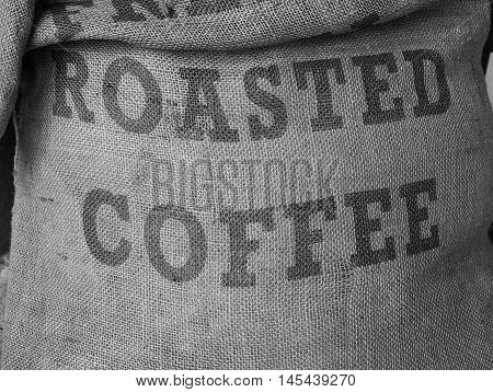 Detail of hessian sack bag of roasted coffee in black and white
