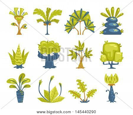 Cartoon fantasy trees and bushes set. Vector nature elements icons. Isolated on white.