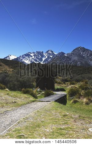 Public amenities is provided at Tasman Glacier and was shot in portrait format.