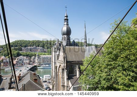 Aerial view Belgian Dinant seen from cable car to top of citadel