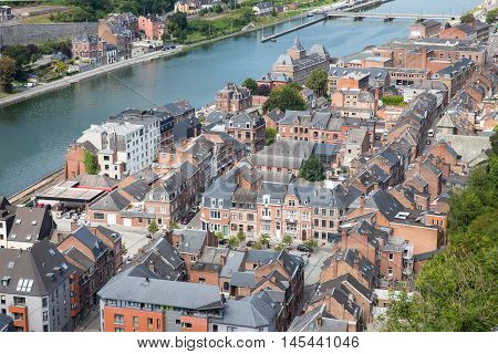Aerial view Dinant along river Meuse Belgium