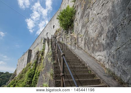 Stone stairs to citadel of Dinant in Belgium