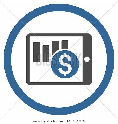 Sales Chart on Pda rounded icon. Vector illustration style is flat iconic bicolor symbol, cobalt and gray colors, white background.