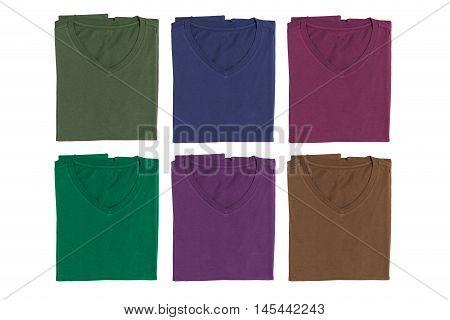 Set of V-neck T-shirt isolated on white background