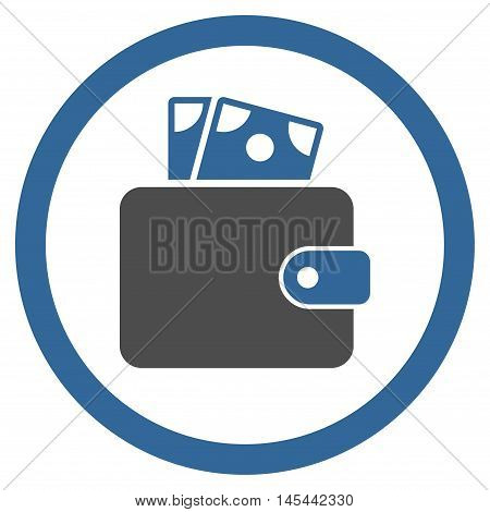 Wallet rounded icon. Vector illustration style is flat iconic bicolor symbol, cobalt and gray colors, white background.
