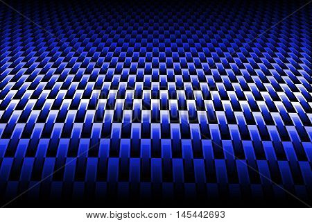 blue curve carbon fiber on the black shadow. background and texture. 3d illustration.