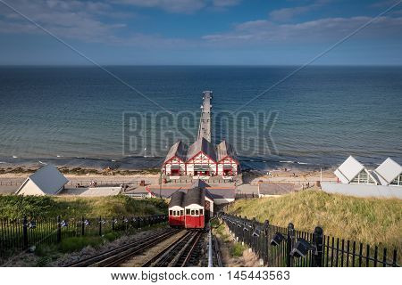 Saltburn Funicular and Pier, at Saltburn by the Sea which is a Victorian seaside resort