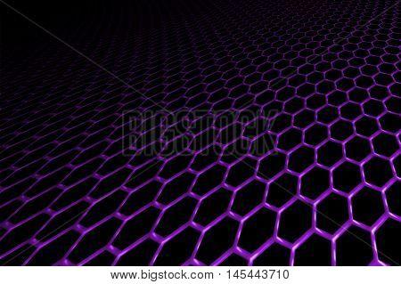 purple curve metallic mesh on black background. monochrome color. for web or printing background design. 3d illustration.
