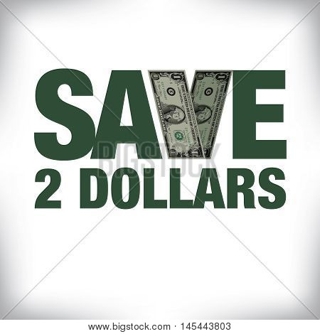 Save two dollars retail copy with white space for text