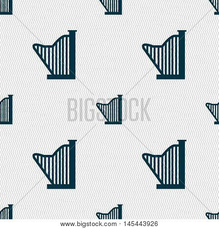 Harp Icon Sign. Seamless Pattern With Geometric Texture. Vector