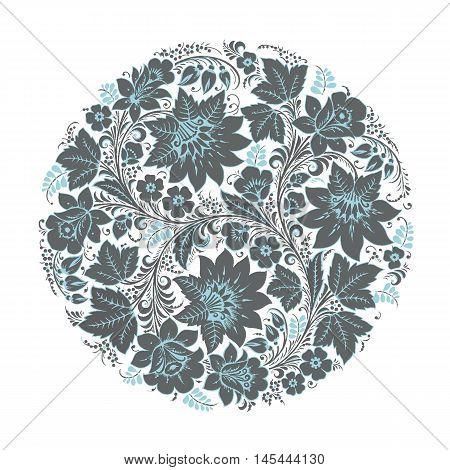 Flower pattern blue with elements of folk Khokhloma style. Vector illustration.