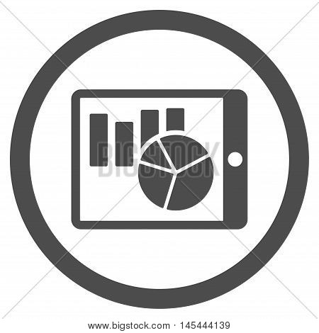 Charts on Pda rounded icon. Vector illustration style is flat iconic symbol, gray color, white background.