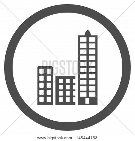 City rounded icon. Vector illustration style is flat iconic symbol, gray color, white background.