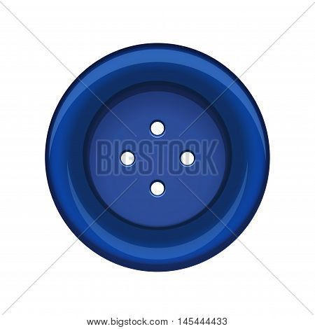 Sewing button stud icon. Blue sewing button isolated on white background. Vector illustration