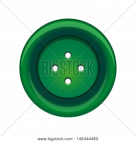 Sewing button stud icon. Green sewing button isolated on white background. Vector illustration
