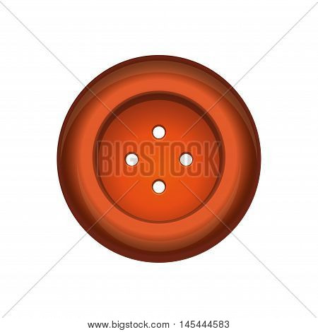 Sewing button stud icon. Orange sewing button isolated on white background. Vector illustration