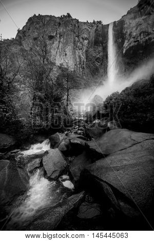 Bidalveil Falls Yosemite National Park Black And White