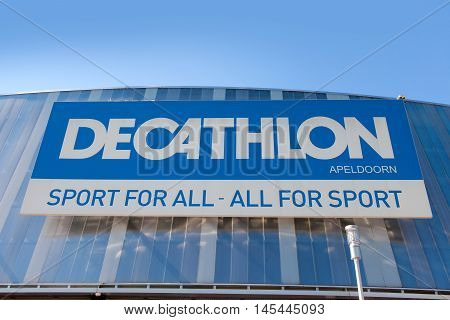 Amsterdam, The Netherlands, August 23, 2016: Decathlon sign. Decathlon is one of the world's largest sporting goods retailers that stocks a wide range of sporting goods.