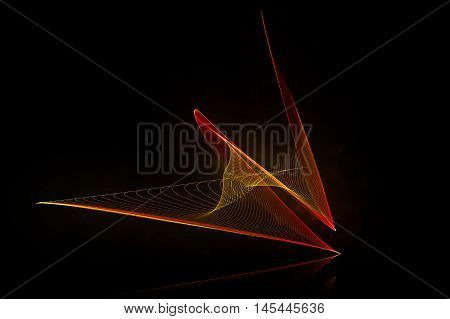 red abstract sound wave with reflex on black background for logo or symbolic design. 3d illustration.