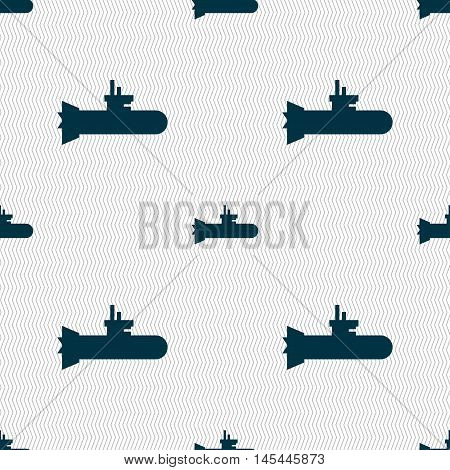 Submarine Icon Sign. Seamless Pattern With Geometric Texture. Vector